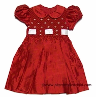 Anavini Girls Christmas Red Silk Smocked Dress with Ribbon Insert