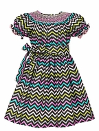 Anavini Girls Danielle Gray / Multi Colors Chevron Smocked Dress with Sash