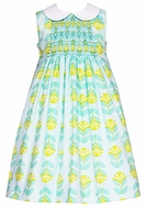 Anavini Girls Emma Turquoise Print Smocked Dress with Collar