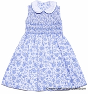 Anavini Girls French Blue Toile Pique Smocked Bodice Dress - Sleeveless with Collar