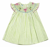 Anavini Girls Green Check Smocked Pink Flamingo / Palm Trees Dress