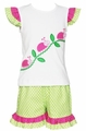 Anavini Girls Green Dot Ruffle Shorts with Ladybugs Top