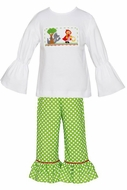 Anavini Girls Green Dots Ruffle Pants with Smocked Little Red Riding Hood Shirt