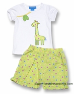 Anavini Girls Green Multi Dots Shorts with Applique Giraffe Top
