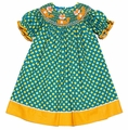 Anavini Girls Green / Orange Dots Smocked Cute Fox Bishop Dress