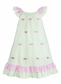 Anavini Girls Green Seersucker Gingham / Embroidered Pink Alligator Peasant Dress