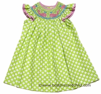Anavini Girls Green / White Polka Dots Smocked Preppy Pink Whales - BISHOP Dress