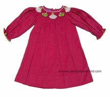 Anavini Girls Hot Pink Corduroy Smocked Christmas Ornaments Bishop Dress - Long Sleeves