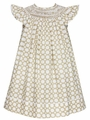 Anavini Girls Khaki Tan / White Dots Smocked Bishop Dress