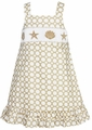 Anavini Girls Khaki Tan / White Dots Smocked Seashells Sun Dress