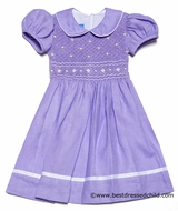 Anavini Girls Lavender Lilac Lined Linen Smocked Bodice Dress with Collar