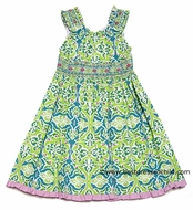 Anavini Girls Leah Lime Green Floral Sun Dress with Smocked Straps