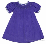 Anavini Girls Lily Purple Corduroy Smocked Bishop Dress with Floral Trim