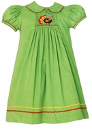 Anavini Girls Lime Green Corduroy Smocked Thanksgiving Turkey - Float Dress with Collar
