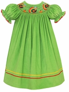 Anavini Girls Lime Green Corduroy Smocked Thanksgiving Turkeys Bishop