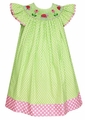 Anavini Girls Lime Green Dots / Pink Trim Smocked Ladybugs Dress