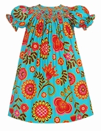 Anavini Girls Melissa Turquoise Autumn Floral Smocked Dress - Bishop