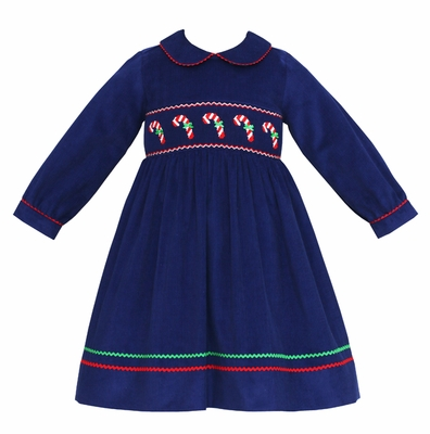 Anavini Girls Navy Blue Corduroy Smocked Candy Canes Dress