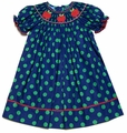 Anavini Girls Navy Blue / Green Dots - Smocked Red Apples Dress
