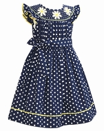 Anavini Girls Navy Blue / White Dots Smocked Daisies Dress with Sash