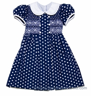 Anavini Girls Navy Blue / White Dots Smocked Dress - Double Breasted