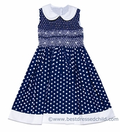 Anavini Girls Navy Blue / White Dots Smocked Sleeveless Dress with White Collar