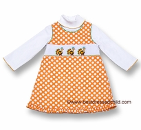 Anavini Girls Orange Polka Dot Smocked Turkey Trot Jumper and Shirt