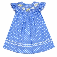 Anavini Girls Periwinkle Blue / White Dots Smocked Daisies Dress