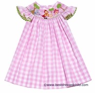 Anavini Girls Pink Check Smocked Little Red Riding Hood Dress - Angel Sleeves