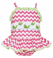 Anavini Girls Pink Chevron Striped Ruffle Swimsuit - Smocked Green Preppy Whales