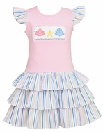 Anavini Girls Pink Dress with Blue / Pink Tiered Skirt - Smocked Sea Shells
