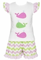 Anavini Girls Pink / Green Chevron Applique Whale Shorts Set