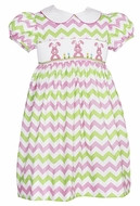 Anavini Girls Pink / Green Chevron Print Smocked Easter Bunny Dress with Collar