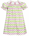 Anavini Girls Pink / Green Chevron Stripe Smocked Easter Bunnies Bishop Dress