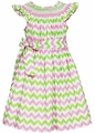 Anavini Girls Pink / Green Chevron Stripes Smocked Dress with Sash