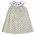 Anavini Girls Pink / Green Smocked Popsicles Dress