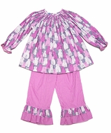Anavini Girls Pink / Grey Kitty Cats Print Smocked Top with Ruffle Pants