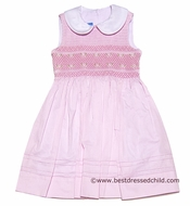 Anavini Girls Pink Pique Sleeveless Smocked Bodice Dress with Collar