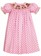 Anavini Girls Pink Polka Dots Smocked Puppy Dogs Bishop Dress