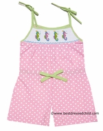 Anavini Girls Pink Polka Dots Smocked Seahorses Romper with Ties