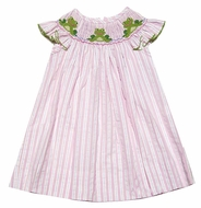 Anavini Girls Pink Striped Smocked Green Frogs Flutter Sleeve Dress