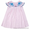Anavini Girls Pink Stripes Smocked Blue Octopus Dress