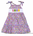 Anavini Girls Purple Multi Polka Dots Tiered Sun Dress - Smocked Summer Treats
