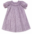 Anavini Girls Purple / Pink Tiny Floral Twill Smocked Bishop Dress
