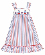 Anavini Girls Red / Blue Stripes Smocked Sail Boats Sun Dress