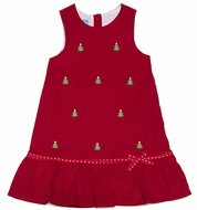 Anavini Girls Red Corduroy / Green Embroidered Christmas Trees Jumper Dress