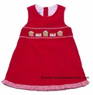 Anavini Girls Red Corduroy Smocked Pretty Christmas Gifts Jumper Dress