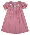 Anavini Girls Red Gingham Smocked Baby Cows Bishop Dress