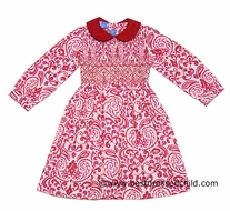 Anavini Girls Red / White Damask Floral Smocked Christmas Dress - Fully Smocked Bodice - Long Sleeves and Collar