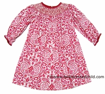 Anavini Girls Red / White Floral Damask Smocked Christmas Dress - BISHOP with Long Sleeves